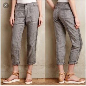 Anthropologie Hei Hei Marlena Linen Cropped Pant.
